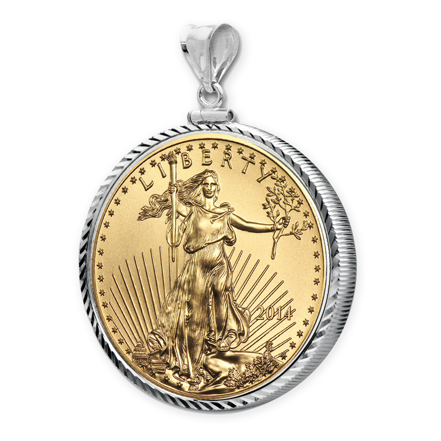 2014 1/10 oz Gold Eagle White Gold Pendant(DiamondScrewTop Bezel)
